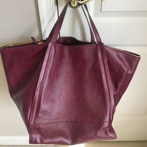 Zara large leather handbag tote